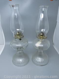 Two Interesting Mid Century Oil Lamps