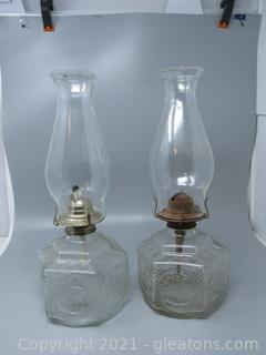 Two Farm House Oil Lamps - Horse & Buggy Design