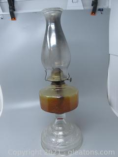 Two Tone Oil Lamp with Pressed Glass Design on Base