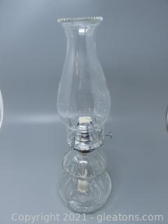 Pleasing Pressed Glass Oil Lamp