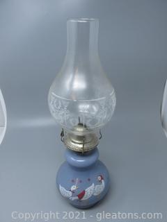 Farm Ducks Adorn This Glass Oil Lamp