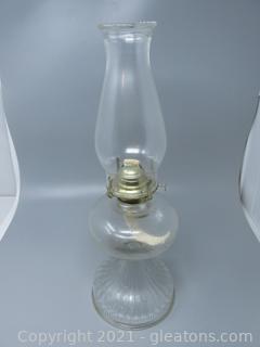 Heavy Pressed Glass Oil Lamp