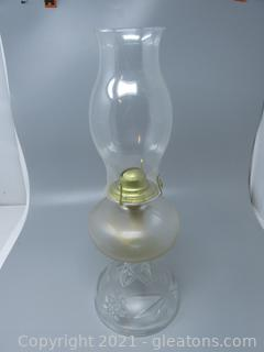 """Unique American """"Brilliant Cut Glass"""" Oil Lamp with Clear Glass Chimney"""