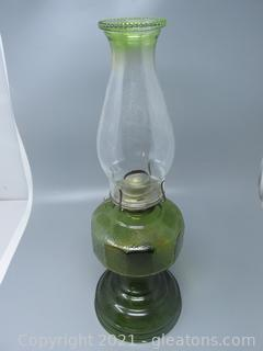 Classic Green Oil Lamp with Designed Base