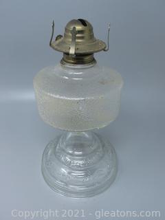 Pressed Glass Oil Lamp Base with Kerosene Burner