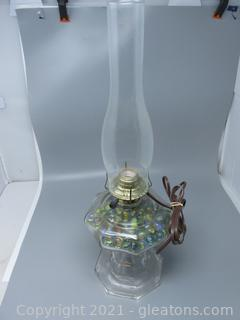 Electric Oil Lamp Filled with Marbles