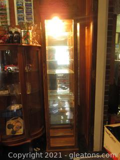Lighted Curio Cabinet Oak Finish