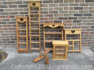 Folk Art Display Shelves and Wooden Tricycle