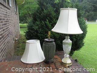 2 Stylish lamps - Crystal/Glass & Ceramic