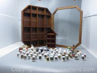 78 Souvenir Thimbles in Wood Case