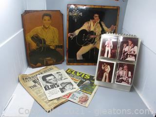 Elvis Memorabilia - Clock, Plaque, News Clippings, Photos