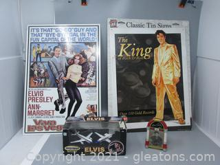 2 Elvis Classic Tin Signs, Musical Ornament & Airplanes