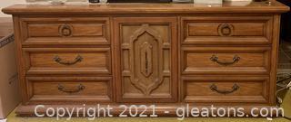 Mid Century 9 Drawer Dresser with Mirror