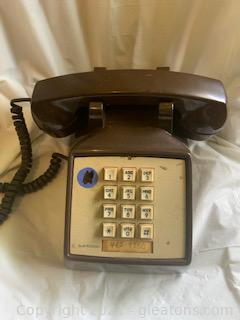 Brown and Ivory Push Button Corded Telephone