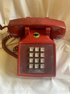 Red Push Button Corded Telephone