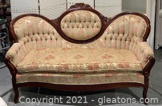 Victorian Carved Cameo Back Tufted Sofa