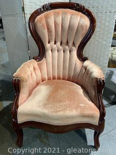 Victorian Blush Velvet Carved Parlor Chair