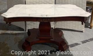 Italian White Marble Top Carved Mahogany Coffee Table