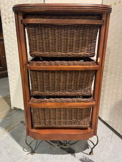 Storage Chest with Three Wicker Drawers and Metal Feet