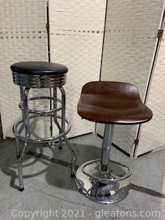Two Mismatched Bar Stools