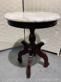 Round Italian White Marble Top Mahogany Lamp Table