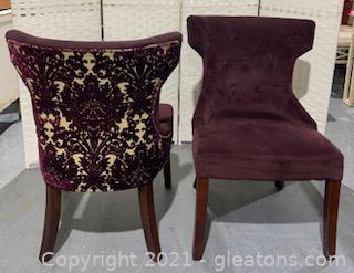 Pair of Purple Velvet Tufted Chairs with Contrasting Fabric