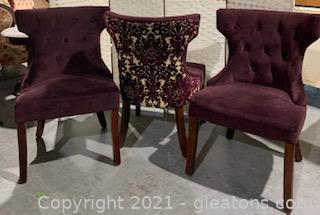 Set of Three Purple Velvet Tufted Chairs With Contrasting Fabric