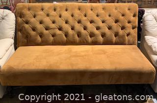 Rust Colored Velvet Button Tufted Banquette