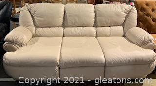 Ivory Leather Sleeper Sofa
