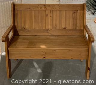Linon Natural Wood Storage Bench