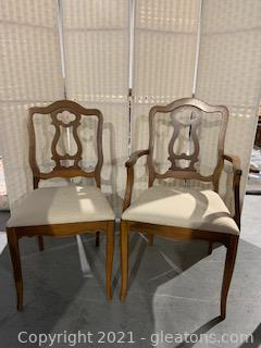 Carved Bassett Pecan Dining Armchair and Side Chair