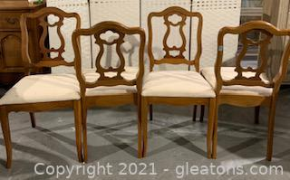 Four Carved Bassett Pecan Dining Chairs