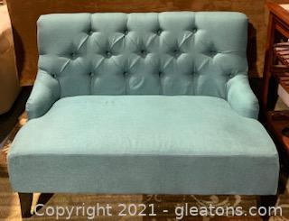 Tufted 2 Seater Teal Armless Loveseat