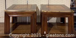 Two Wooden End Tables with Gold Edges