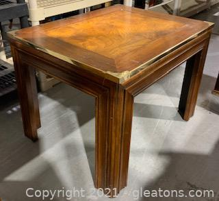 Wooden End Table with Gold Edges