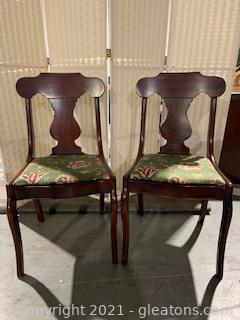Two Empire Style Lewisburg Cherry Dining Chairs