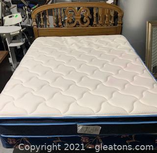 Bassett Furniture Walnut Queen Size Headboard & Mattress Set