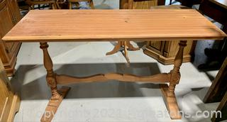 Distressed Tressel Console Table