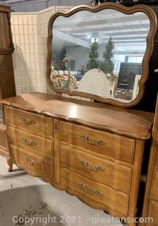 Bassett Crown Cherry Collection Dresser and Mirror