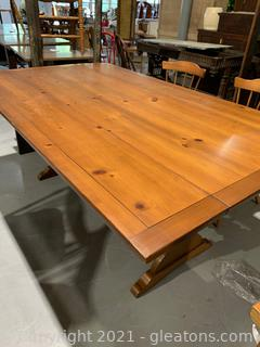 Knotty Pine Drop Leaf Tressel Dining Table