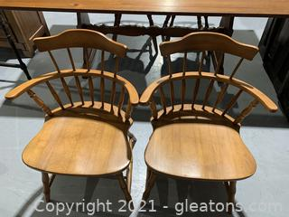 A Pair of Barrel Style Spindle Back Chairs