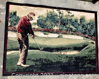Golf Scene Black Trimmed Area Rug