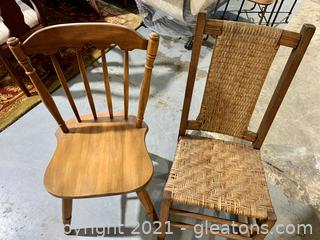 Rush Rocker and Spindle Back Chair