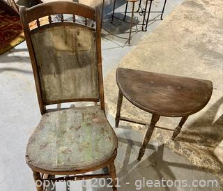 Rustic Rocker and Hall Table