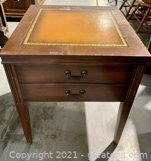 Timeless Leather Top End Table