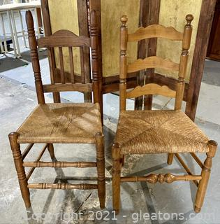 A Pair of Rush Bottom Weaved , Dining Chairs