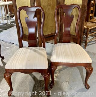 A Pair of Cherry Thomasville Splat Back Dining Chairs