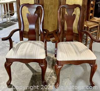 A Pair of Cherry Thomasville Splat Back Arm Chairs