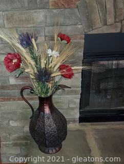 Charming Flower Arrangement in Copper Look Pitcher