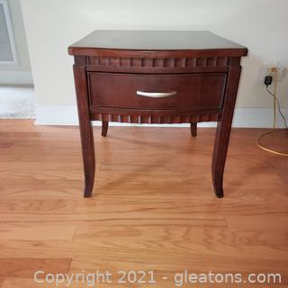 Beautiful Rippled Edge One Drawer End Table